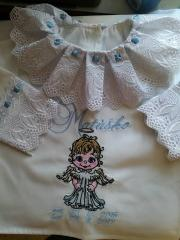 Embroidered baby christening dress with little angel design