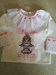 Embroidered baby girl dress with little angel