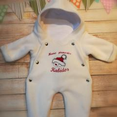 Embroidered baby romper with Christnas snowman free design