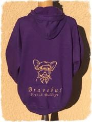 Embroidered hoodie with Bulldog in beret free design
