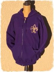 Embroidered hoodie with Fleur-de-lis design