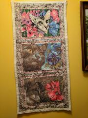 Embroidered panno with cats photo stitch free designs