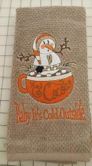 Towel with Snowman in mug embroidery design