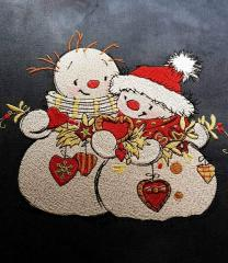Snowmen with Christmas toys embroidery design