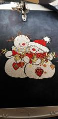 Snowmen with Christmas toys embroidery design in progress
