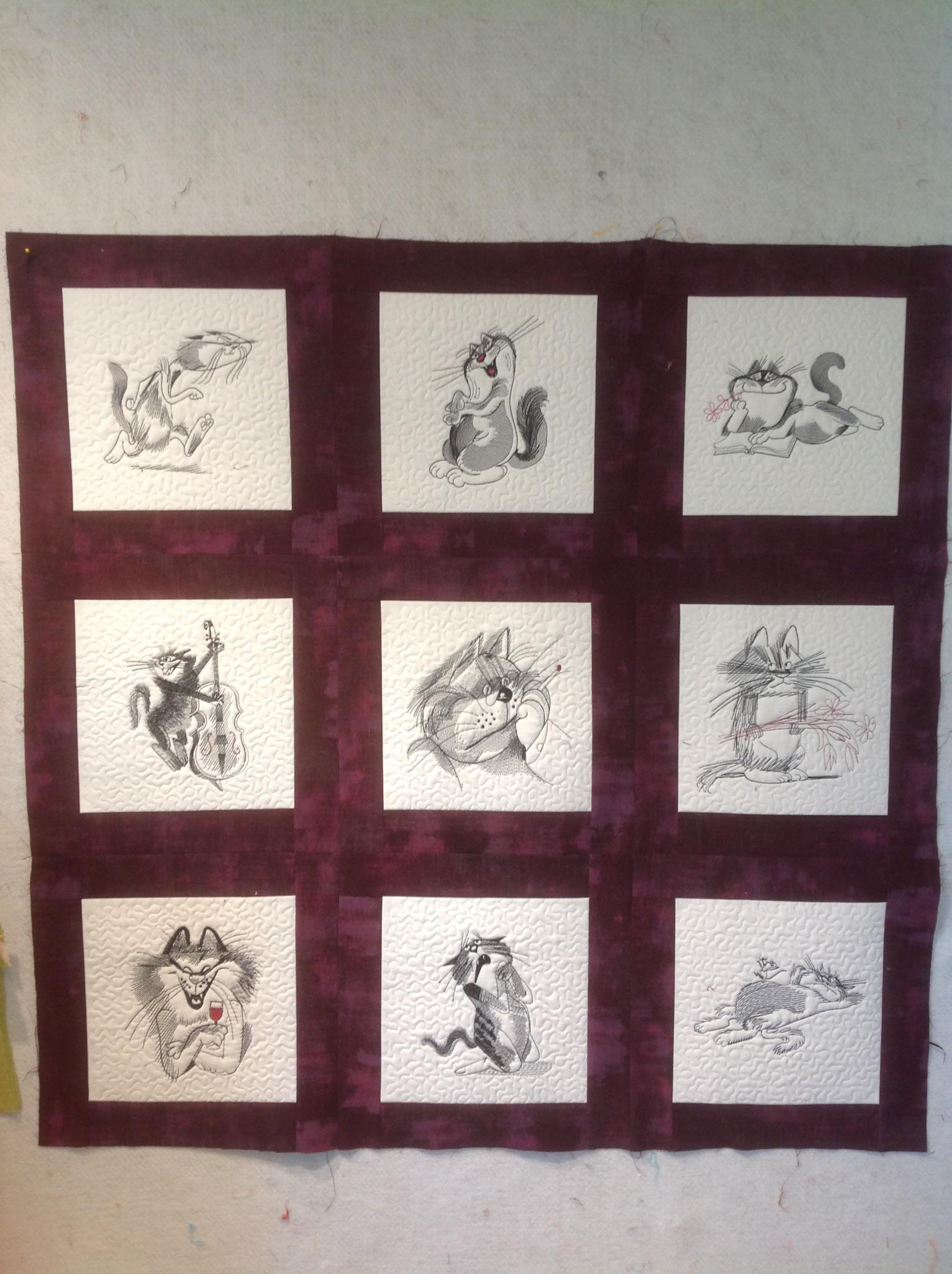 Embroidered collage with funny cats free designs