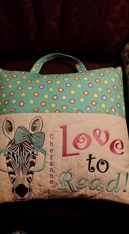 Embroidered pillow with zebra in glasses free design