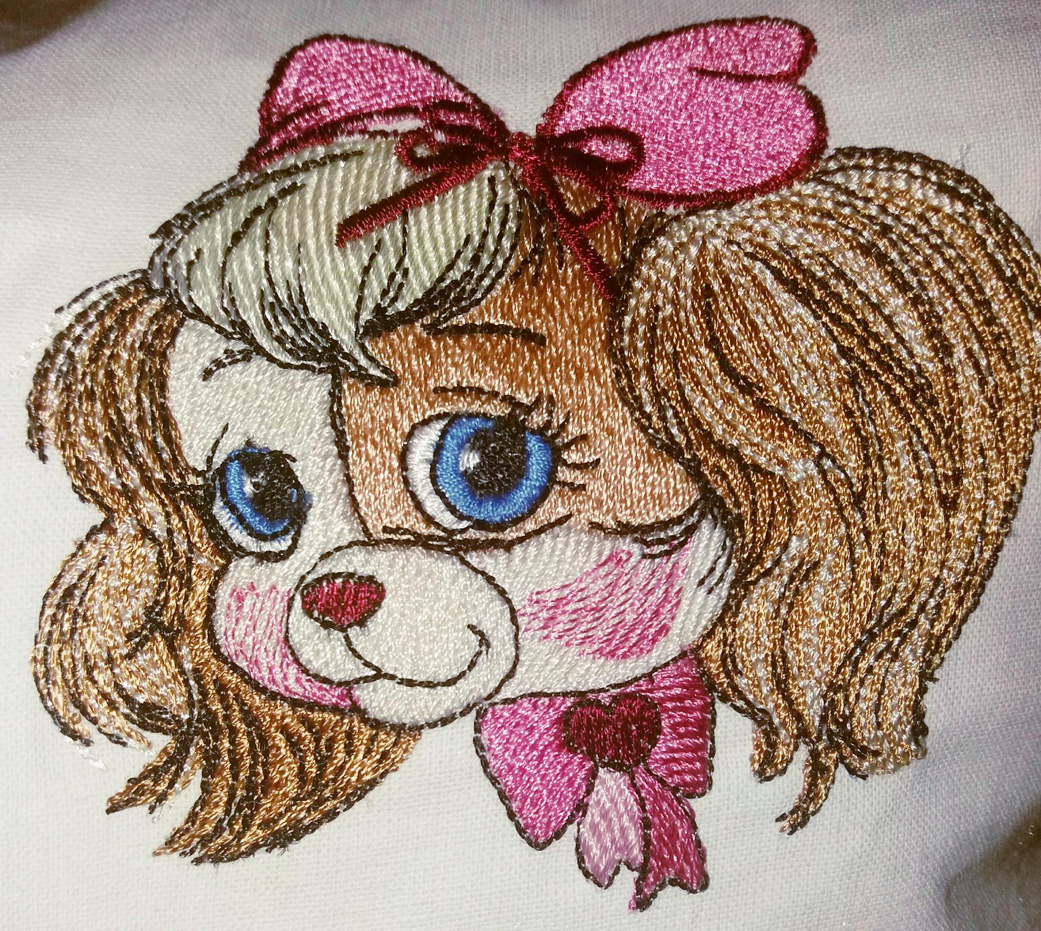 Portrait of cute dog embroidery design