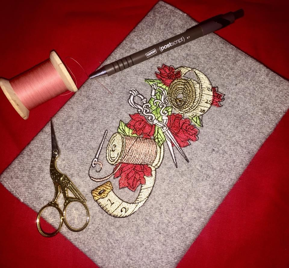 Vintage needlework set embroidery design