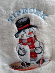 Embroidered towel with Snow Snowboarder design
