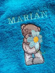 Embroidered towel with Teddy bear and flower design