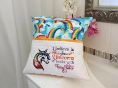 Embroidered cushion with Rainbow unicorn design
