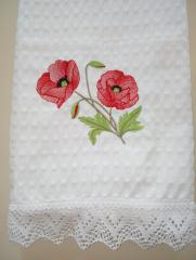 Embroidered home decoration with poppies design