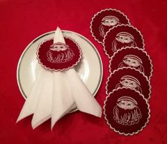 Embroidered napkin holder with Santa Claus free design