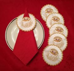 Embroidered napkin holders with Santa Claus free design