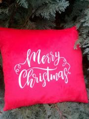 Embroidered pillow with Merry Christmas design