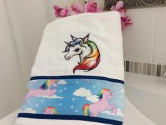 Embroidered towel with Colorful unicorn design