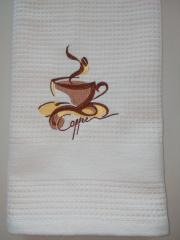 Embroidered towel Cup of coffee free design