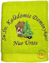 Embroidered towel  with Teddy bear decorating Christmas tree design
