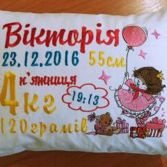 Embroidered cushion with Birthday girl design