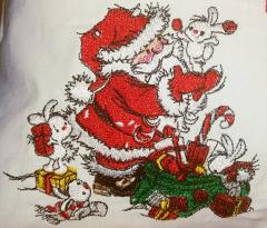 Santa Claus and bunnies embroidery design