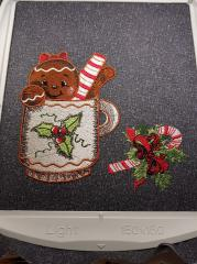 In hoop Gingerbread in the mug embroidery design