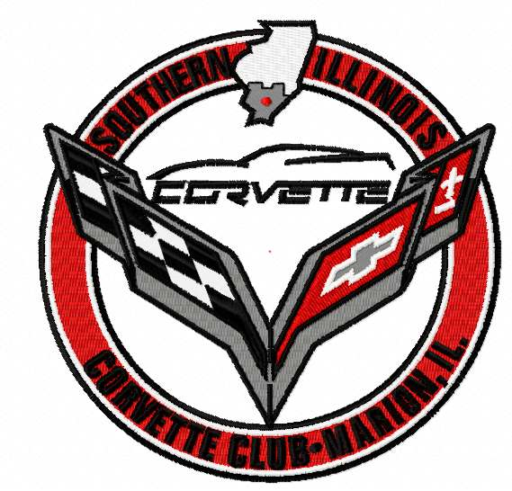 Chevrolet corvette club logo embroidery design