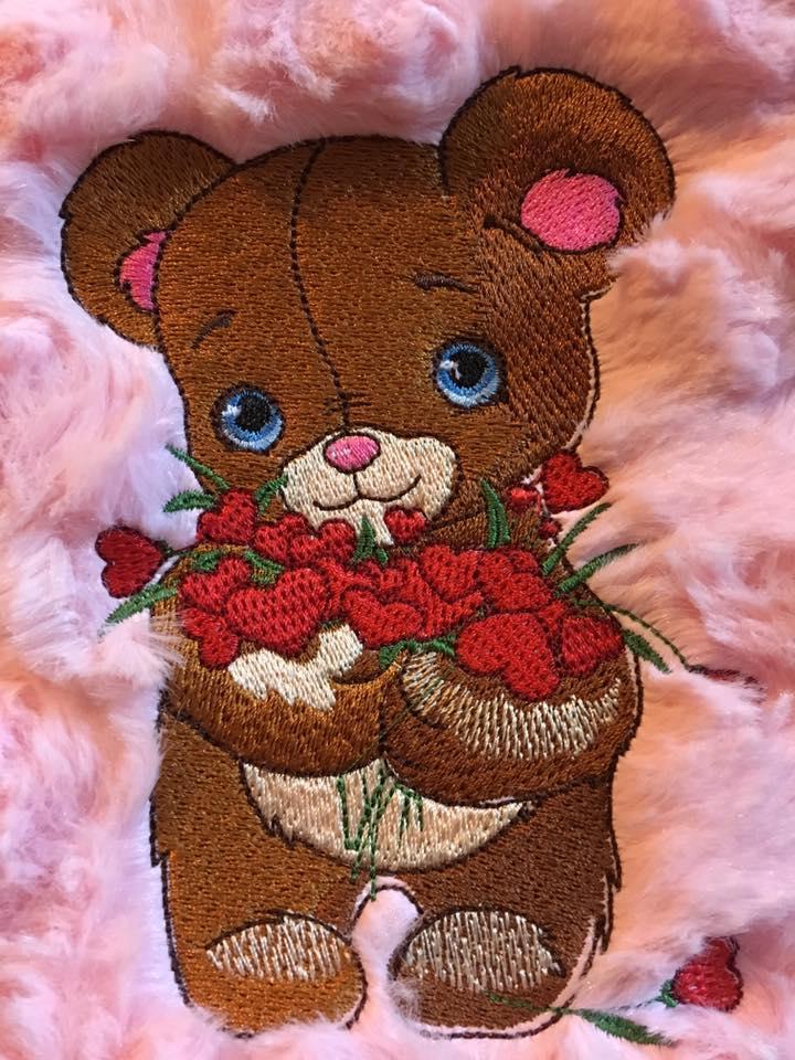Cute Teddy bear embroidered design
