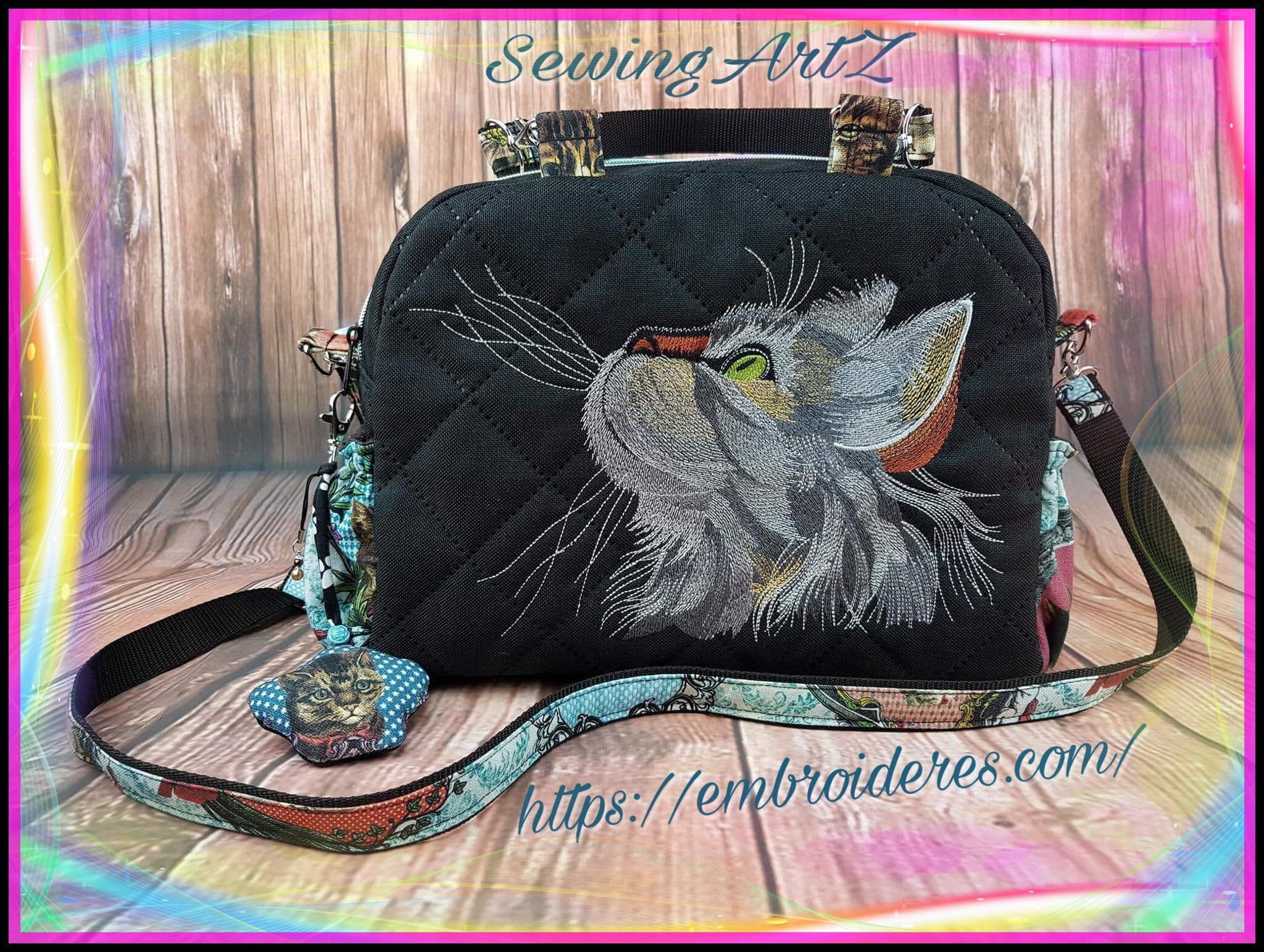 Women Handbag with curious cat embroidery design