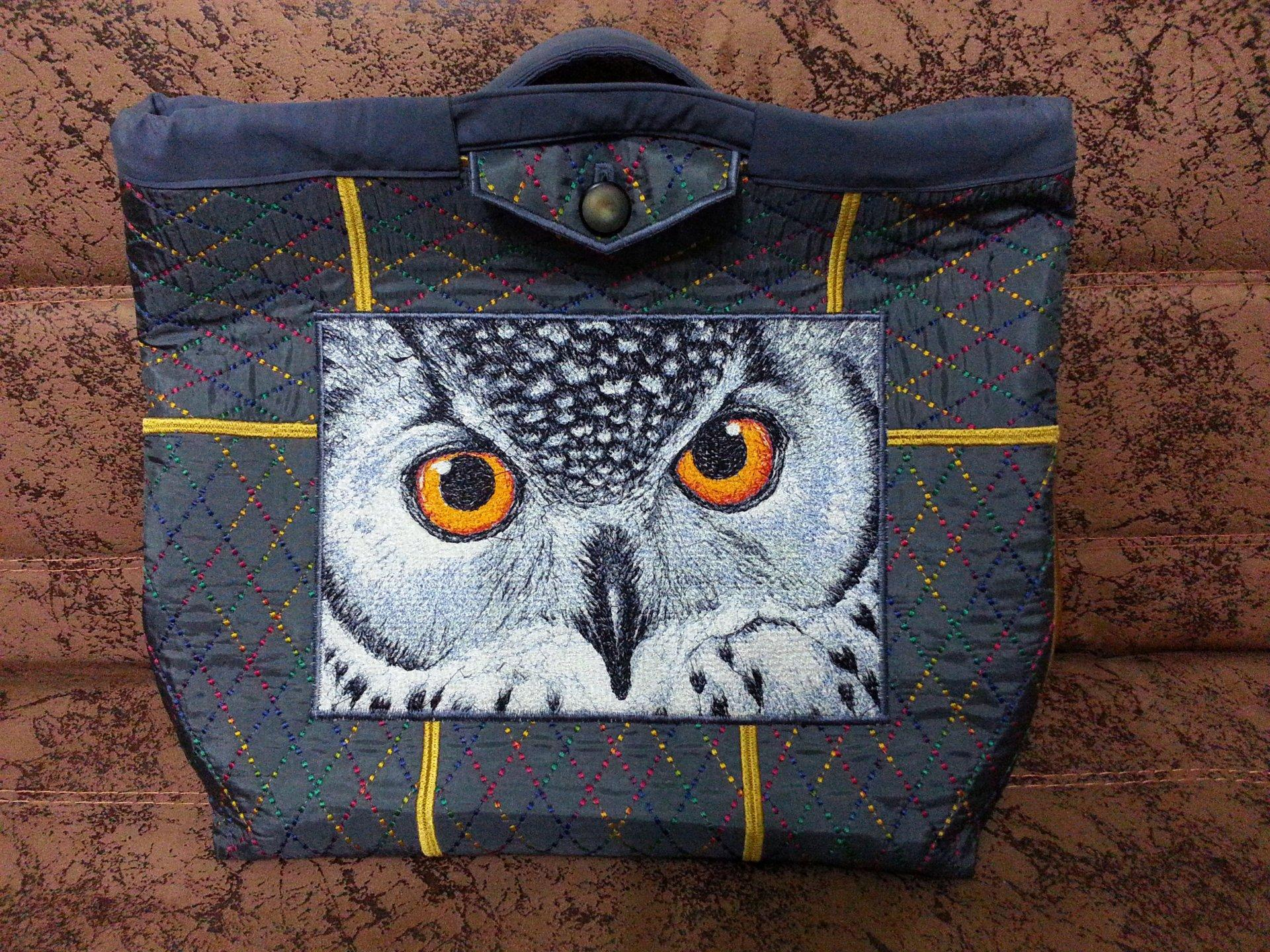 Embroidered bag with eyes of owl free design