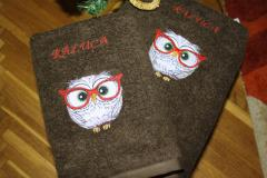 Embroidered cases with owl in glasses design