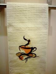 Embroidered kitchen towel with coffee cup free design