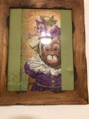 Embroidered picture with funny monkey free design