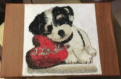 Embroidered picture with cute little dog free design