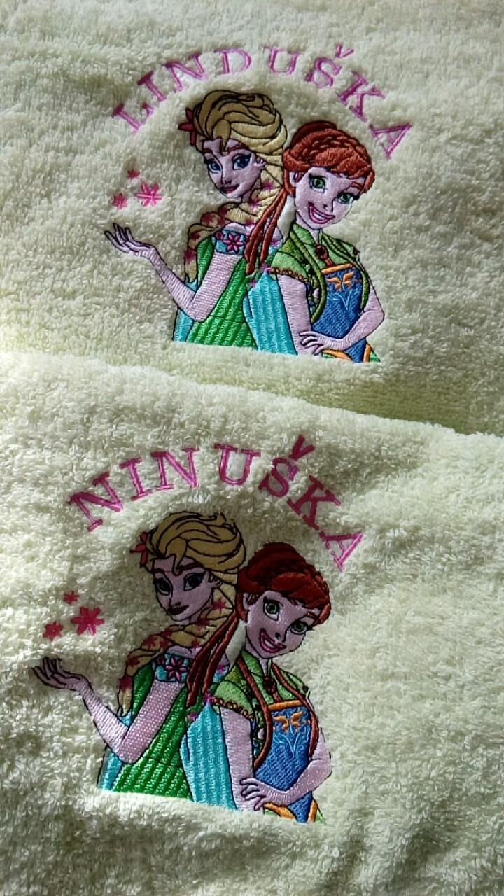 Set of embroidered towels with Sping in Arendelle design
