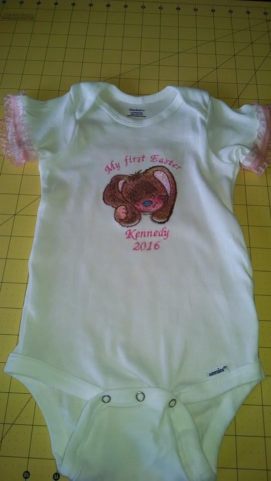 Baby outfit with Love me embroidery design