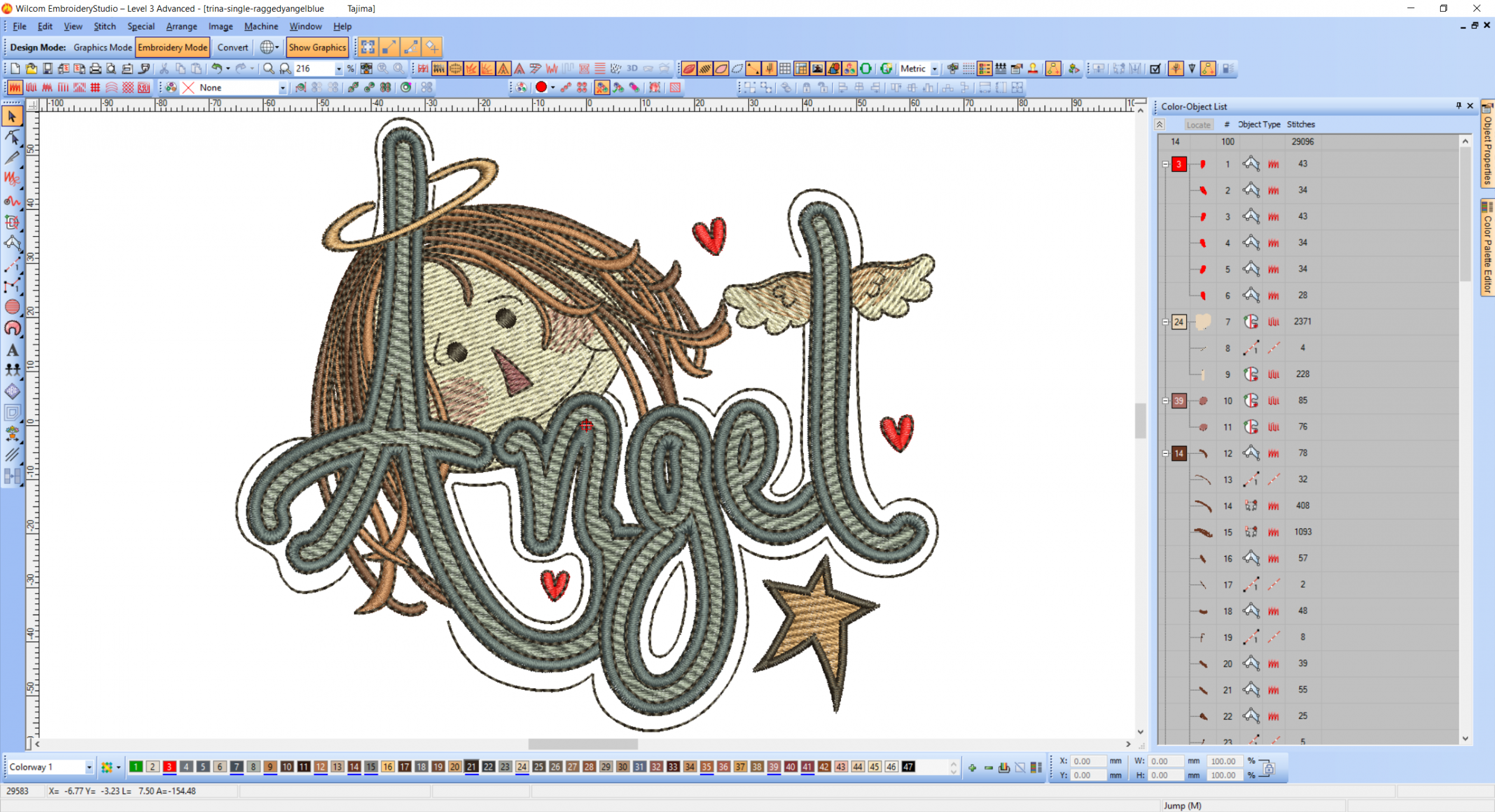 Angel embroidery design preview digitizing.