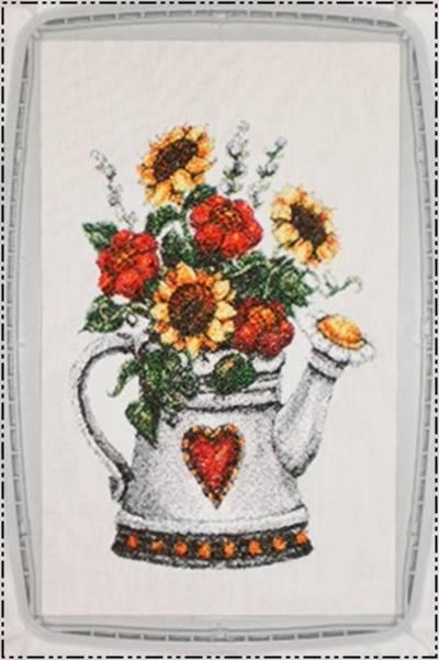 Bouquet in watering can photo stitch embroidered free design