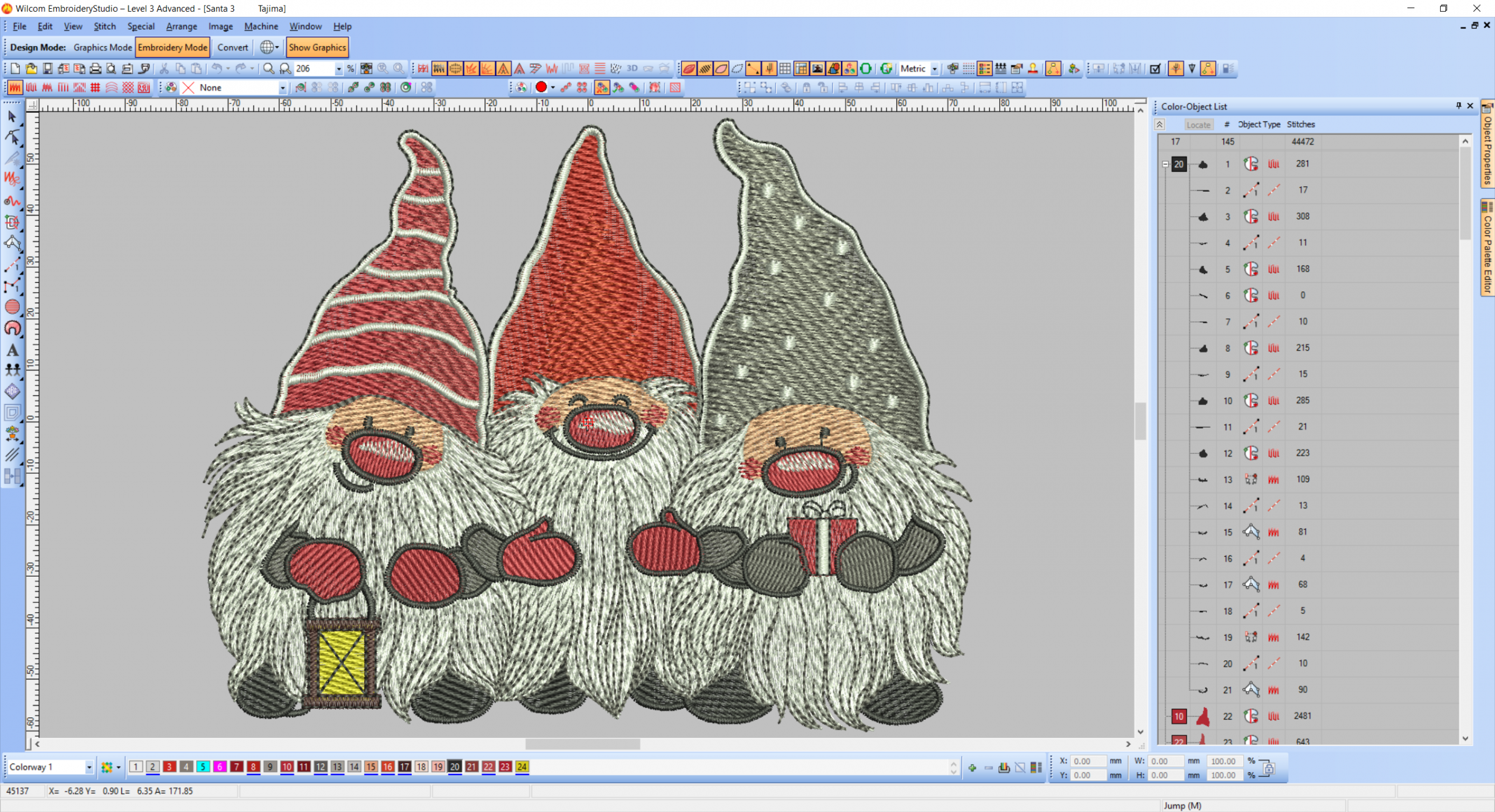 Christmas dwarfs embroidery design preview