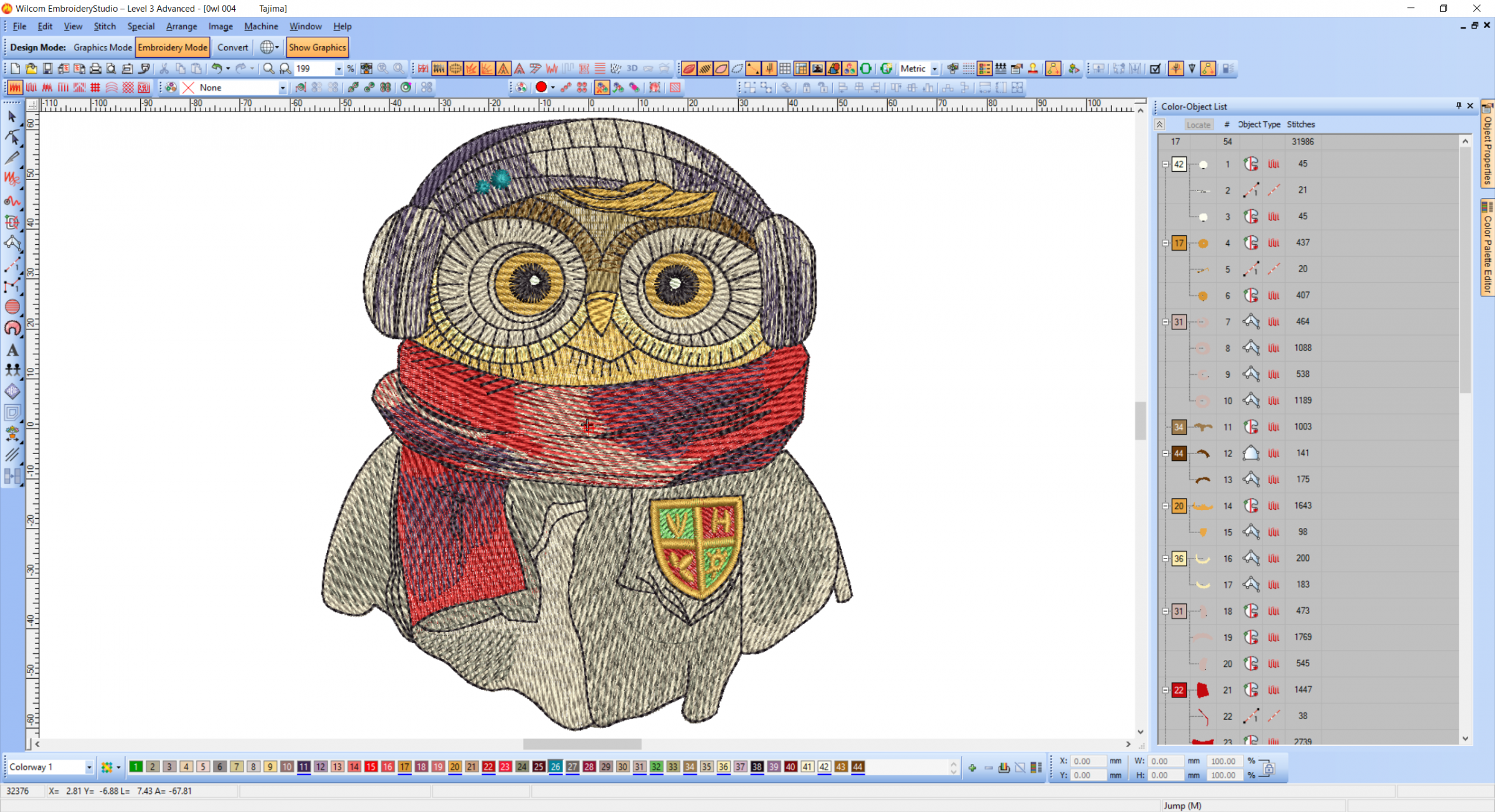 Clever Owl embroidery design preview