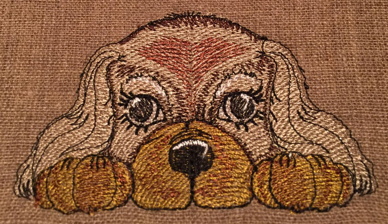 Cute spaniel embroidery design
