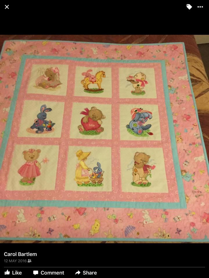 Embroidered quilt with funny toys design