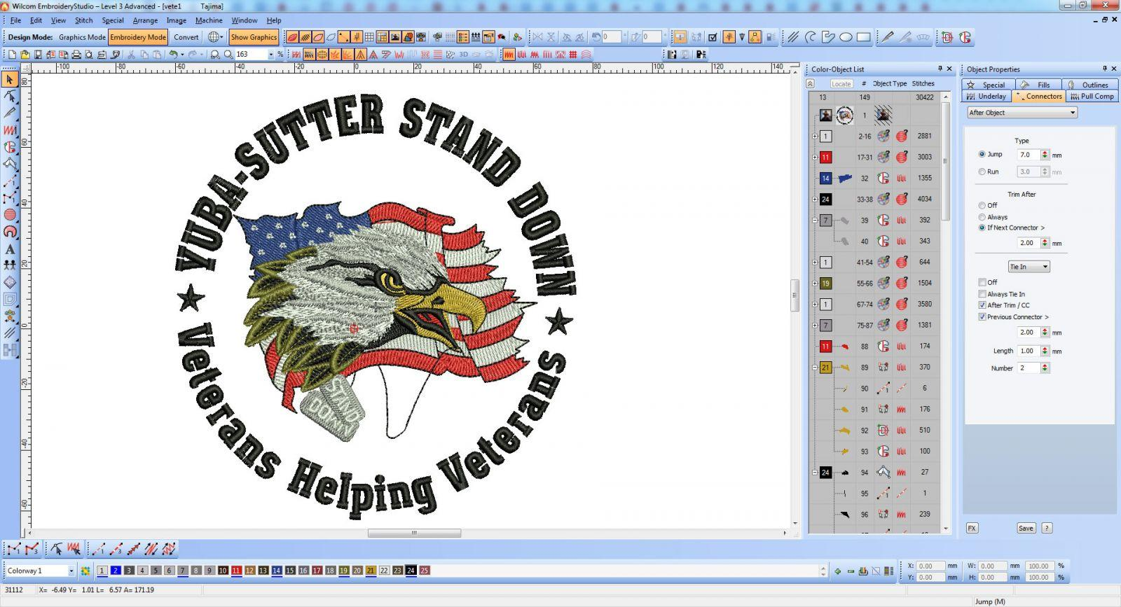 Custom digitizing Veterans logo embroidery design