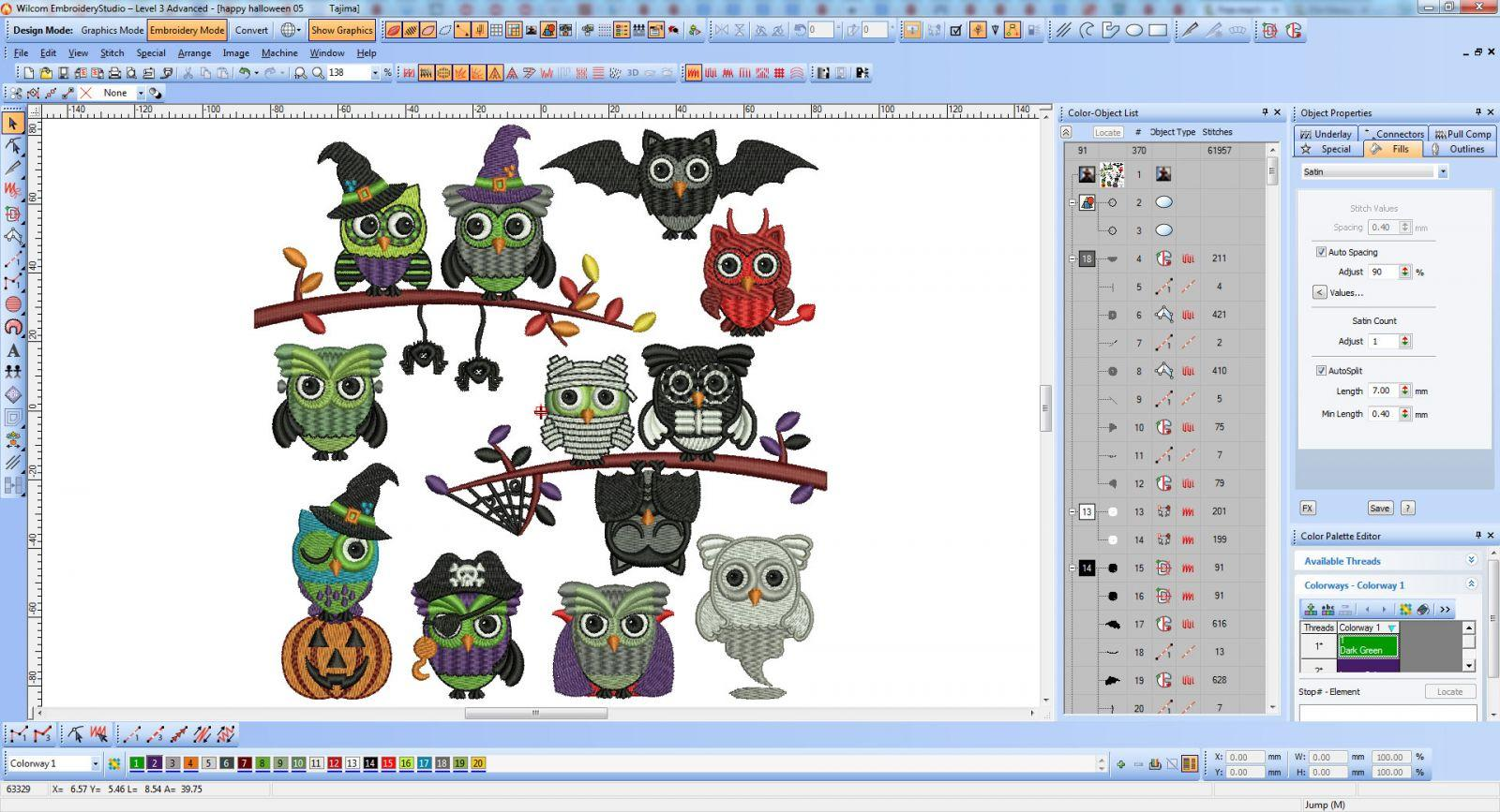 Halloween Owls embroidery collection