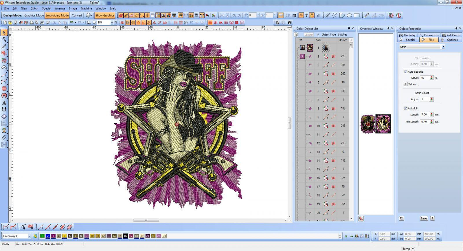 Sheriff Sexygirl embroidery screen shot in Wilcom