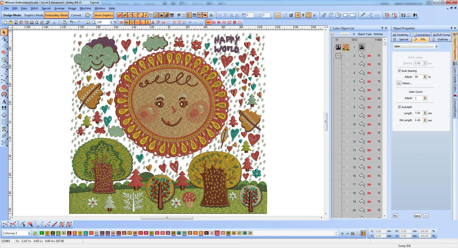 Baby embroidery for quilt screenshot at Wilcom software