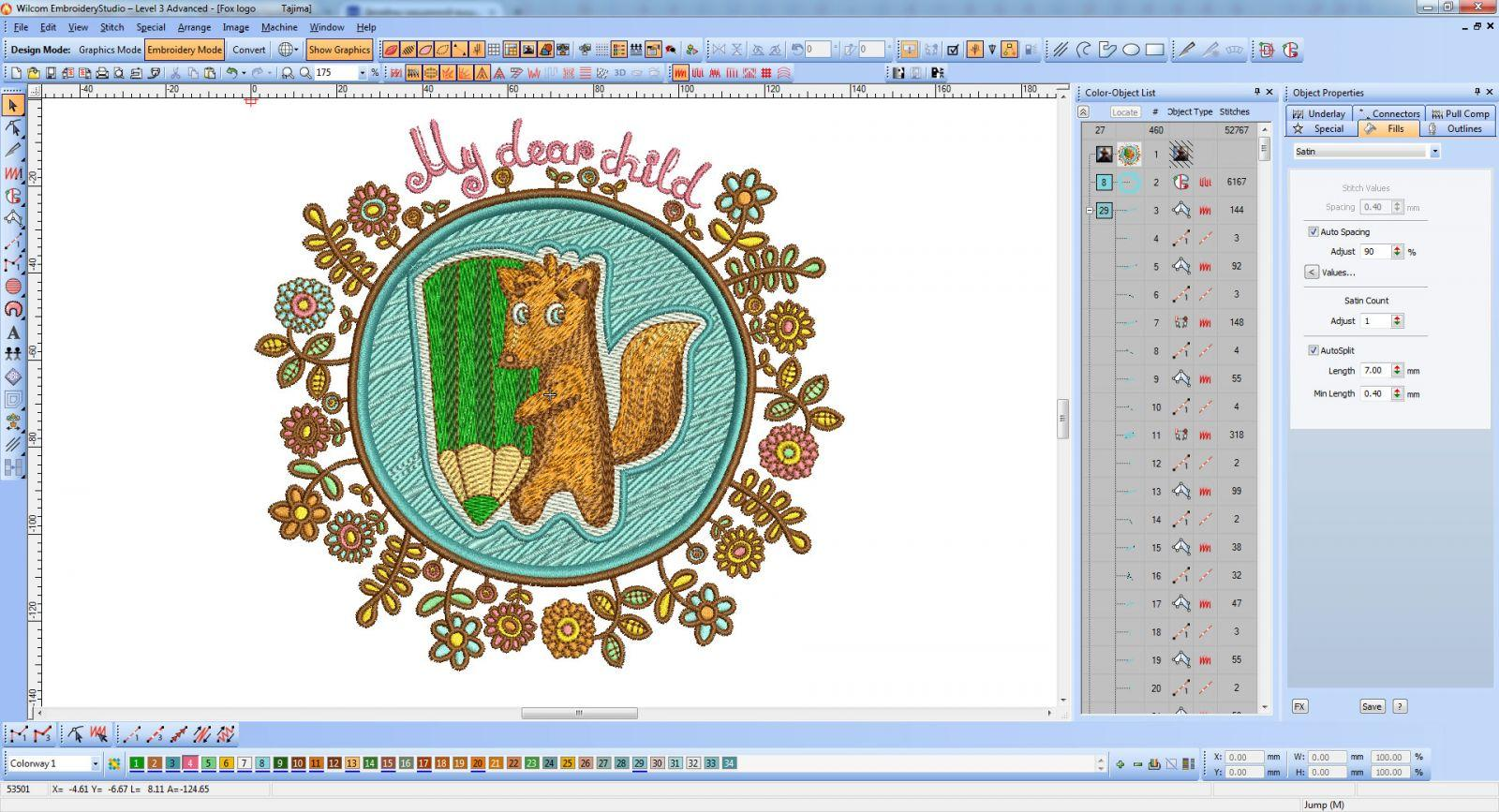 My Dear child series Fox with pencil embroidery design