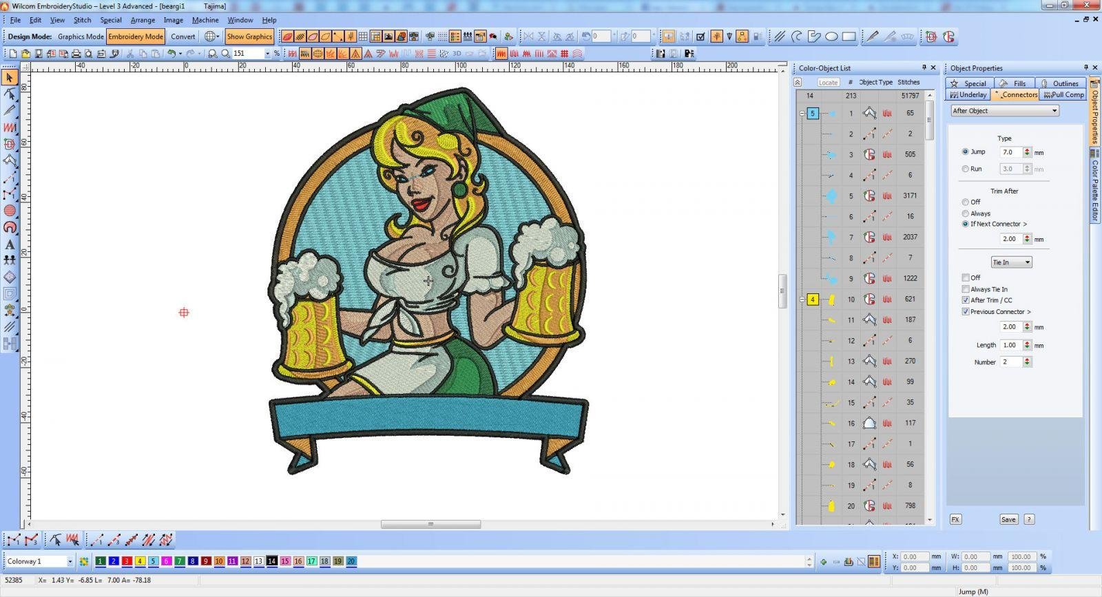 Oktoberfest girl with pot beer embroidery screen shot