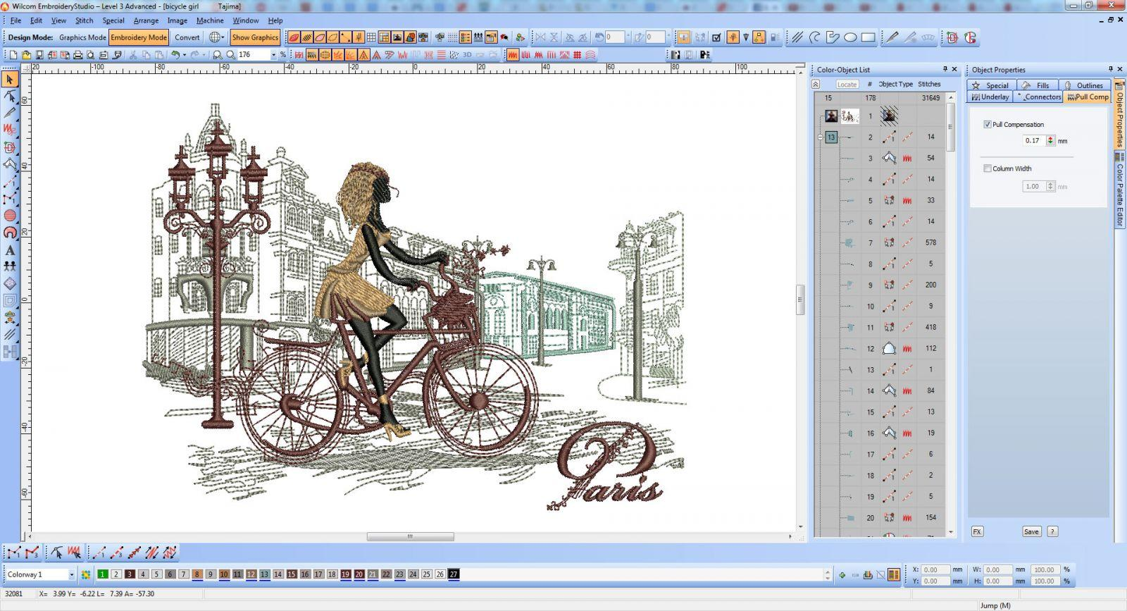 Romantc and Paris embroidery design screen shot