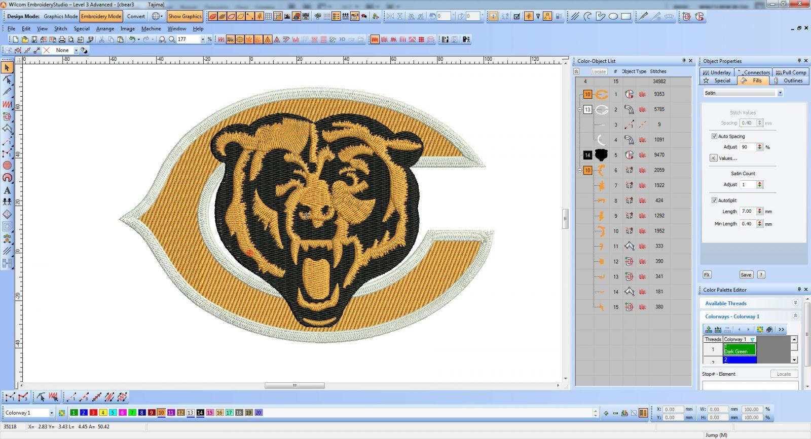 Chicago Bears logo embroidery